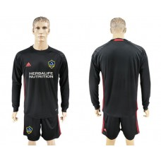 Men 2017-2018 club LA Galaxy black long sleeve goalkeeper soccer jersey