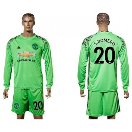 Men 2017-2018 club Manchester United green long sleeve goalkeeper 20 S Romero Soccer jersey