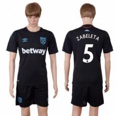 Men 2017-2018 club West Ham United away 5 black soccer jersey