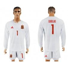 Men 2017-2018 national Spain away Long sleeve 1 soccer jersey