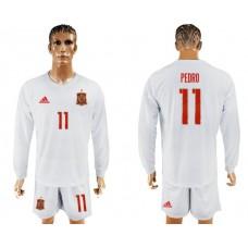 Men 2017-2018 national Spain away Long sleeve 11 soccer jersey