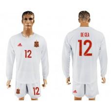Men 2017-2018 national Spain away Long sleeve 12 soccer jersey