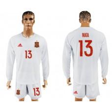 Men 2017-2018 national Spain away Long sleeve 13 soccer jersey