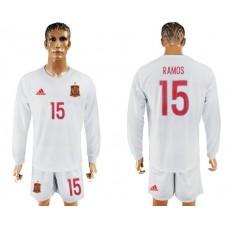 Men 2017-2018 national Spain away Long sleeve 15 soccer jersey