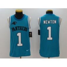 Men Carolina Panthers 1 Cam Newton Blue Rush Player Name Number Tank Top stitched NFL Jerseys