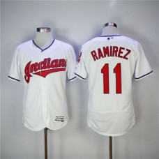 Men Cleveland Indians 11 Jose Ramirez White EliteMLB Jerseys