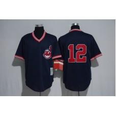 Men Cleveland Indians 12 Francisco Lindor Blue MLB Jerseys