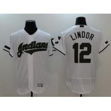 Men Cleveland Indians 12 Francisco Lindor White Elite MLB Jerseys