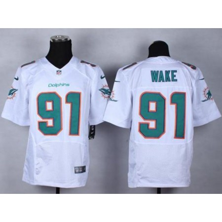 Men Miami Dolphins 91 Wake White Elite Nike NFL Jerseys