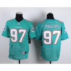 Men Miami Dolphins 97 Jordan Phillips Green Elite Nike NFL Jerseys