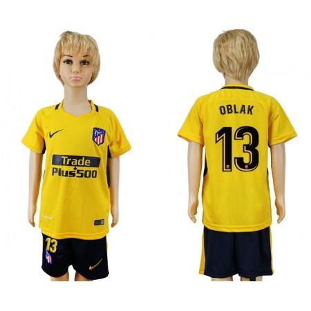 2017-2018 club Atletico Madrid away 13 yellow kids soccer jersey