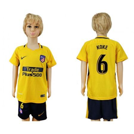 2017-2018 club Atletico Madrid away 6 yellow kids soccer jersey