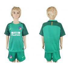 2017-2018 club Atletico Madrid blank green goalkeeper kids soccer jersey