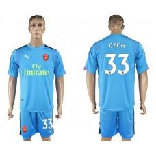 Men 2017-2018 club Arsenal goalkeeper 33 blue soccer jersey