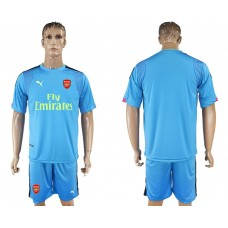 Men 2017-2018 club Arsenal goalkeeper blue blank soccer jersey
