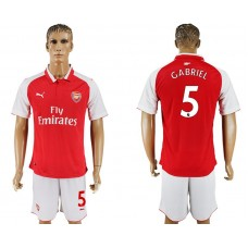 Men 2017-2018 club Arsenal home 5 red soccer jersey