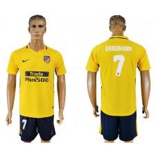 Men 2017-2018 club Atletico Madrid away 7 yellow soccer jersey