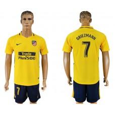 Men 2017-2018 club Atletico Madrid away 7 yellow soccer jersey7