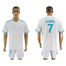 Men 2017-2018 club Marseille home 7 white soccer jersey