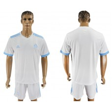 Men 2017-2018 club Marseille home blank white soccer jersey