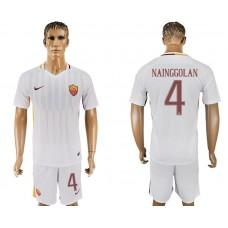 Men 2017-2018 club Rome away 4 white soccer jersey