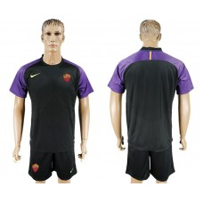 Men 2017-2018 club Rome goalkeeper blank black soccer jersey