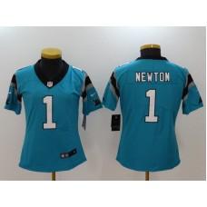 Women Carolina Panthers 1 Cam Newton Blue Nike Vapor Untouchable Limited NFL Jerseys