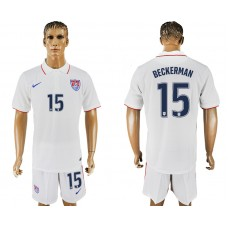 Men 2017-2018 National United States home 15 white soccer jersey