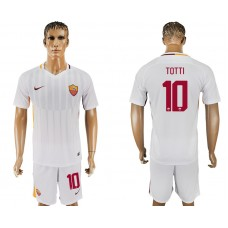 Men 2017-2018 club Rome away 10 white soccer jersey
