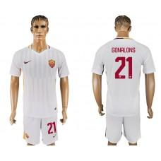 Men 2017-2018 club Rome away 21 white soccer jersey