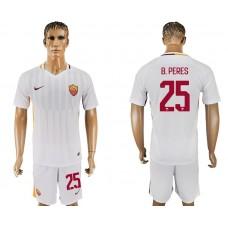 Men 2017-2018 club Rome away 25 white soccer jersey