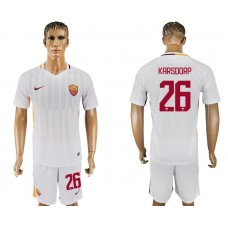Men 2017-2018 club Rome away 26 white soccer jersey