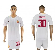 Men 2017-2018 club Rome away 30 white soccer jersey