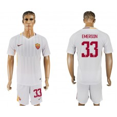 Men 2017-2018 club Rome away 33 white soccer jersey