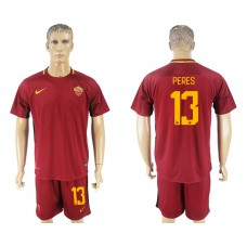 Men 2017-2018 club Rome home 13 red soccer jersey