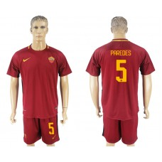 Men 2017-2018 club Rome home 5 red soccer jersey
