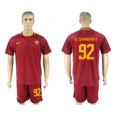 Men 2017-2018 club Rome home 92 red soccer jersey