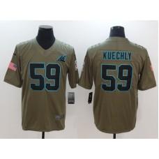 Men Carolina Panthers 59 Kuechly Nike Olive Salute To Service Limited NFL Jerseys