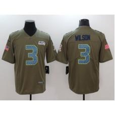 Men Seattle Seahawks 3 Wilson Nike Olive Salute To Service Limited NFL Jerseys