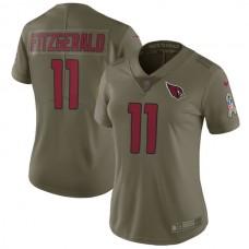 Women Arizona Cardinals 11 Fitzgerald Nike Olive Salute To Service Limited NFL Jerseys