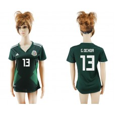 2018 World Cup National Mexico  home aaa version womens 13 green soccer jersey