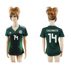 2018 World Cup National Mexico  home aaa version womens 14 green soccer jersey