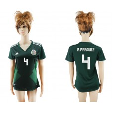 2018 World Cup National Mexico  home aaa version womens 4 green soccer jersey