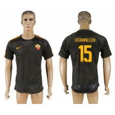Men 2017-2018 club Rome Second away aaa version 15 black soccer jersey