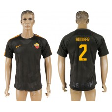 Men 2017-2018 club Rome Second away aaa version 2 black soccer jersey