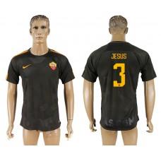 Men 2017-2018 club Rome Second away aaa version 3 black soccer jersey