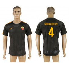 Men 2017-2018 club Rome Second away aaa version 4 black soccer jersey