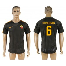 Men 2017-2018 club Rome Second away aaa version 6 black soccer jersey