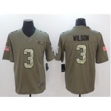 Men Seattle Seahawks 3 Wilson Camo Nike Olive Salute To Service Limited NFL Jerseys