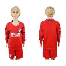 2017-2018 club Atletico Madrid red goalkeeper Long sleeve kids soccer jerseys